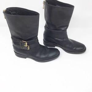 J. Crew black moto short leather boots